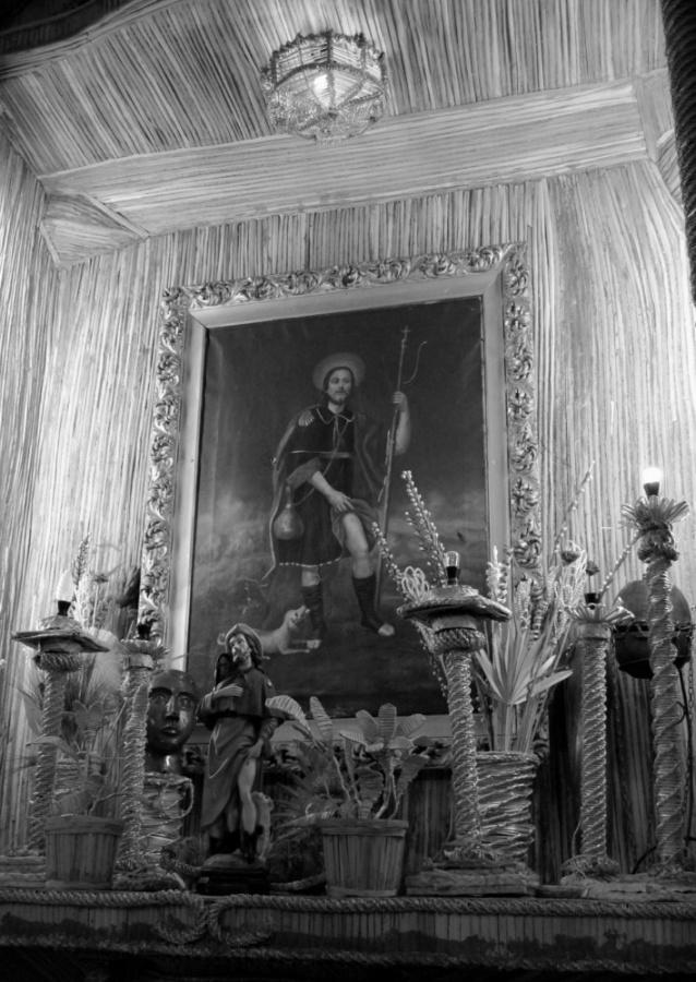 L'icona di San Rocco - Una rappresentazione iconografica di San Rocco realizzata dai mastri pagliari di Paduli e conservata nella chiesa di San Giovanni al centro del paese
